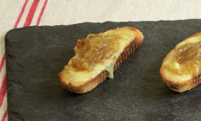 Crostini with Taleggio and Caramelized Onions