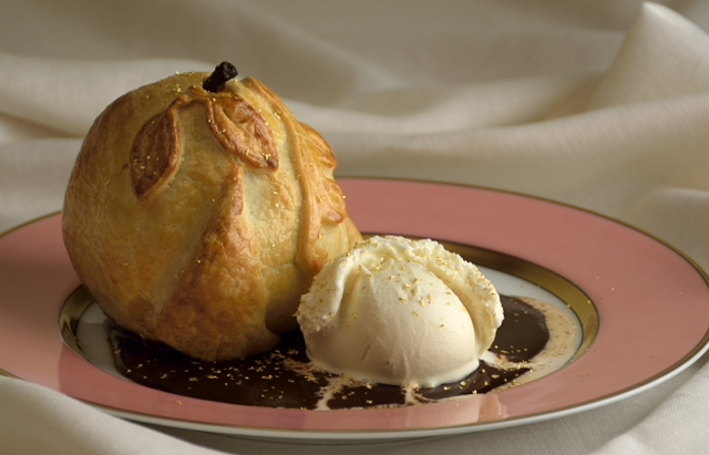 Pears in Pastry with Gold Leaf and Ice Cream