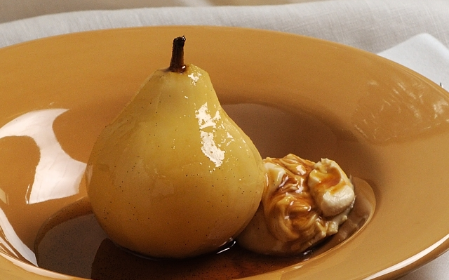 Poalched Pear with Mascarpone