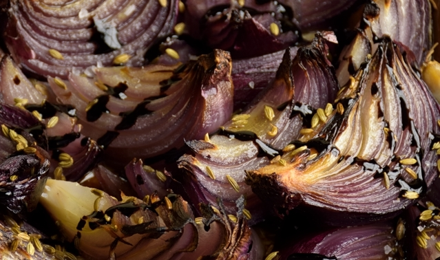 Roasted Red Onions with Basil, Fennel, Balsamic Glaze