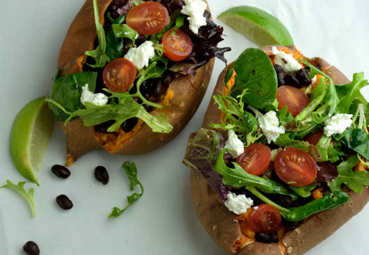 Salad Stuffed Sweet Potato