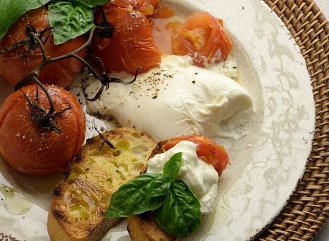 Roasted Tomatoes with Burrata