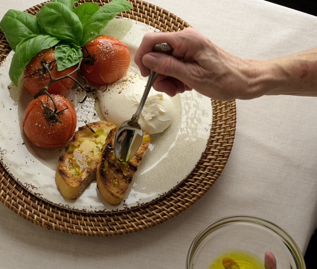 Toasted Tomatoes with Burrata